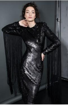 Rochie Loomy negra din paiete negre versatile