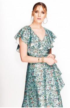Rochie Lure mint cu print floral si volane