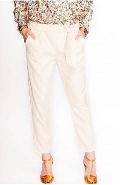 Pantaloni Lure Chinos albi cu dungi