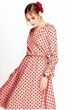 Rochie Lure midi roz cu buline negre petrecuta