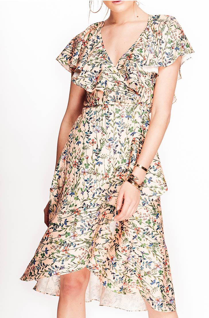 Rochie Lure nude cu print floral si volane