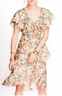 Rochie Lure nude cu imprimeu floral si volane