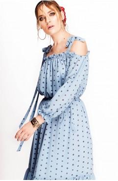 Rochie Lure blue cu buline cu umerii goi