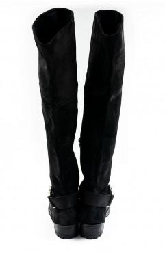 Cizme lungi dama din piele naturala negre Ride High Boots