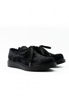 Oxford dama din piele naturala LaceUp Fur Shoes