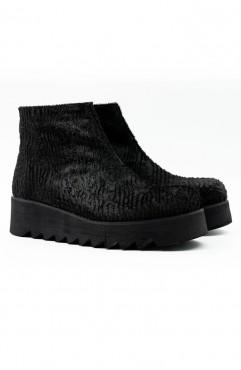 Ghete dama din piele naturala de ponei negre Furrow Short Fur Boots
