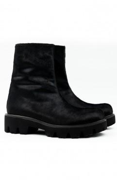 Ghete dama din piele naturala de ponei negre Solstice Fur Boots