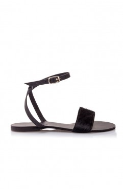 Stripe black pony sandals