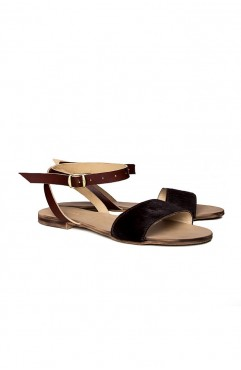 Stripe brown pony sandals