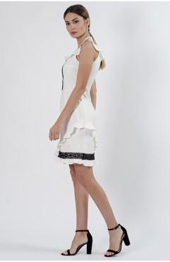 Rochie mini alba Alessandra cu volane si dantela