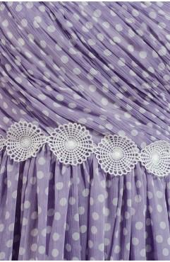 Rochie mini lila cu buline Emmy cu decolteu asimetric si dantela