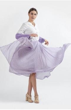 Fusta maxi asimetrica rosemary din voal lila cu buline