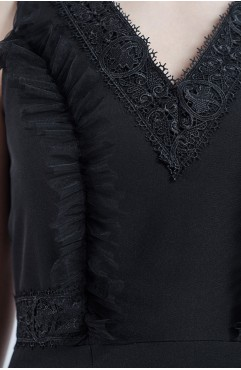 Rochie neagra Florence cu dantela si volane