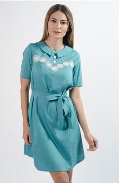 Rochie turcoaz mini din bumbac Dalia cu guler tip camasa si dantela