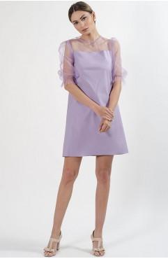 Rochie mini lila Shirley din bumbac cu tul si maneci bufante