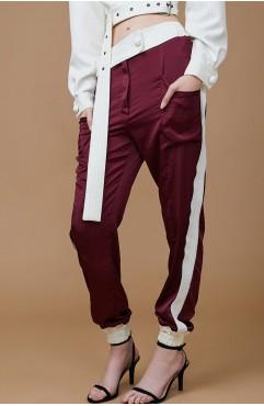 Pantalon din matase burgundy ABONI