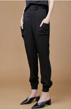 Pantalon din matase neagra ABONI