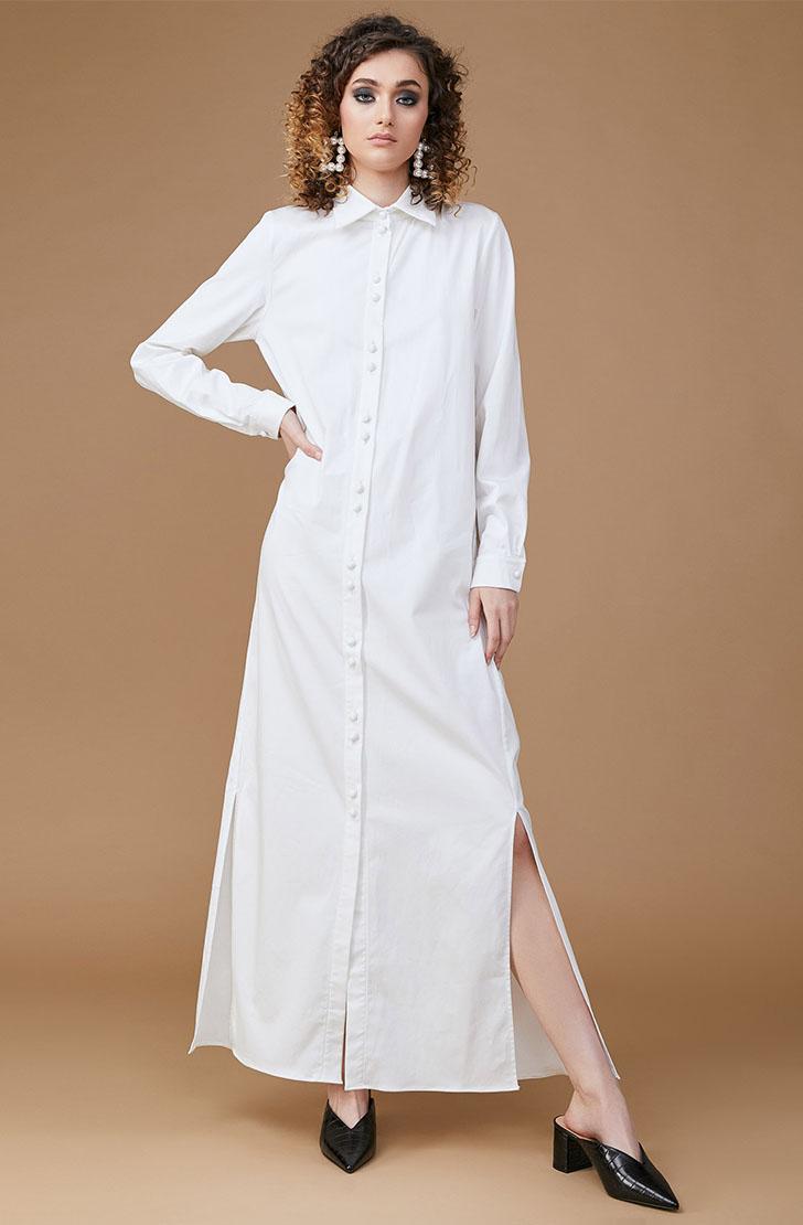 Rochie camasa lunga alba MINIMAL