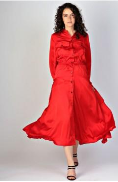 Rochie rosie cu nasturi pe fata Rhizome