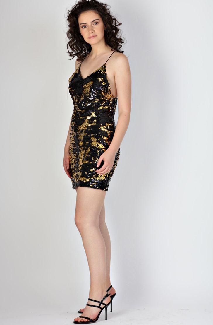 Rochie scurta din paiete negre-aurii Rhizome