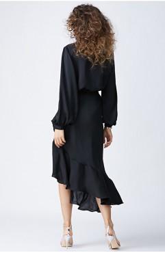 Rochie neagra cu volane MORENA