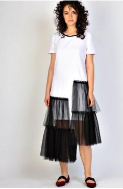 Rochie din bumbac alb cu tull negru Rhizome