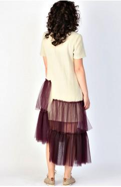 Rochie din in cu tull mov Rhizome