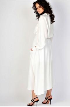 Rochie alba cu nasturi pe fata Rhizome