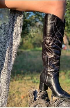 Cizme lungi dama din piele naturala negre cusute manual Zenon