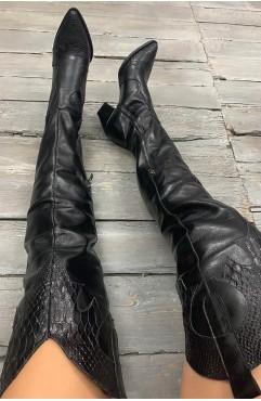 Ciocate Lungi dama din piele naturala negre Zenon