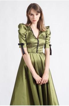 Rochie clos oliv Giselle cu umeri inalti si decolteu cu bride