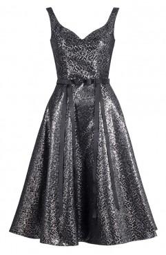 Rochie midi Anastasia din jacard argintiu cu funde in talie
