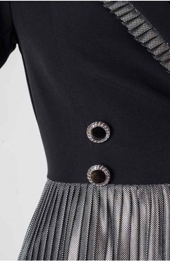 Rochie neagra Celeste cu revere si pliseuri argintii