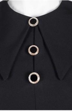 Rochie neagra midi Rose cu guler supradimensionat si buzunare laterale
