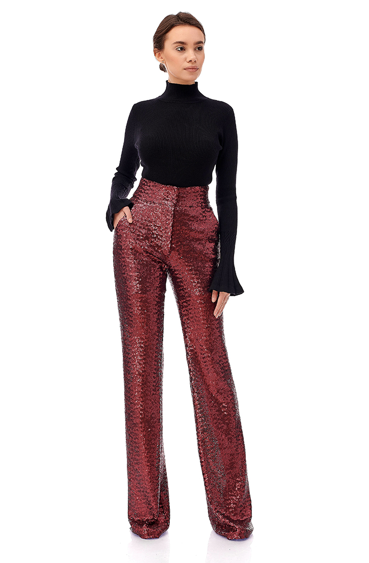 Pantaloni din paiete rosii cu talie inalta Eva