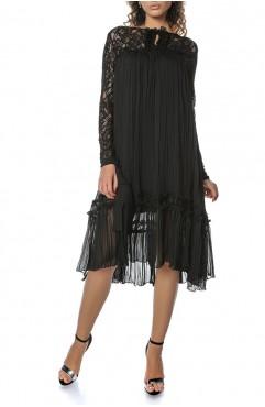 Rochie midi neagra cu aplicatii din dantela Anisia