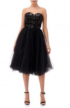 Rochie neagra eleganta din tulle fin Athena