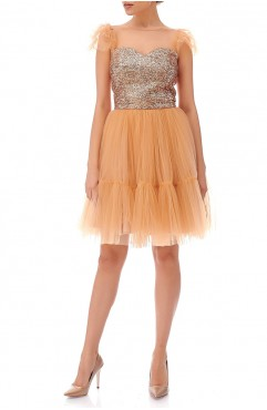 Rochie nude scurta din tulle Freya