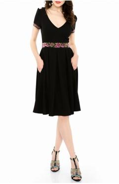 Rochie neagra din bumbac cu broderie multicolora Indira