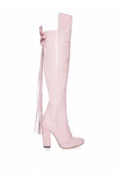 Cizme dama din piele naturala roz Blush