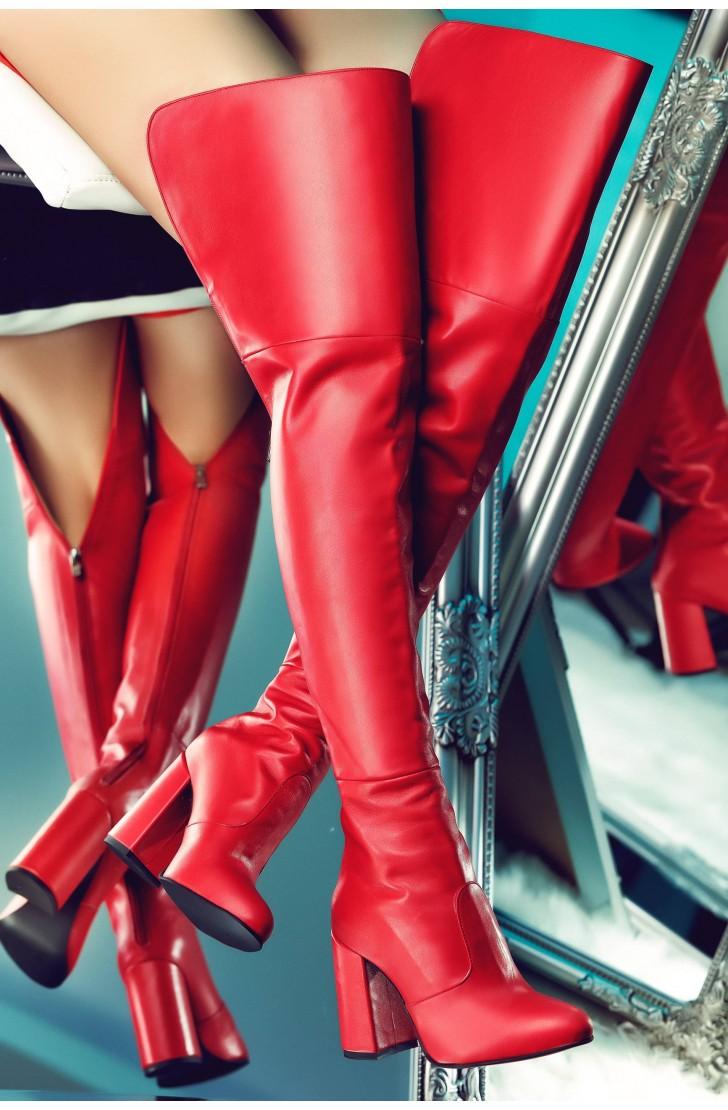 Cizme lungi dama din piele naturala Kate Rosii