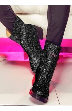 Glitter Black Ankle Boots