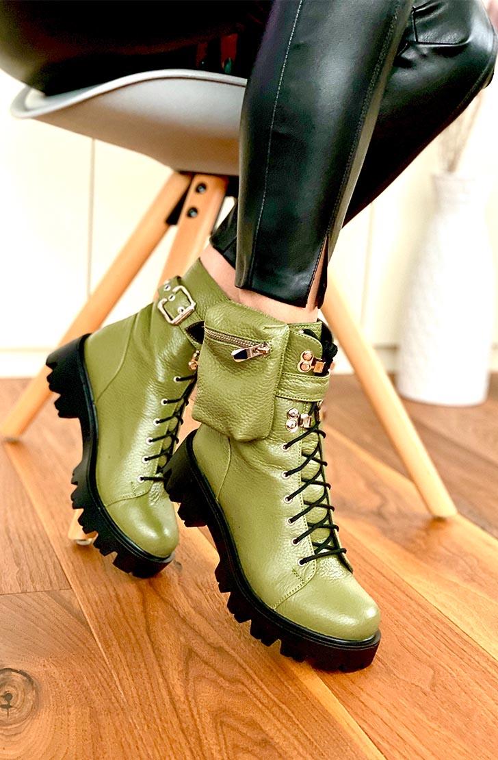 Bocanci dama din piele naturala kaki  Wags