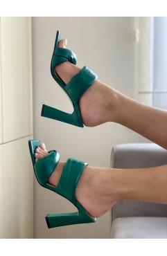 Saboti dama din piele naturala verzi Rhea
