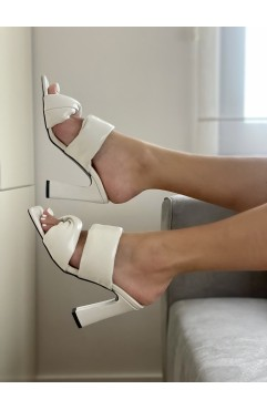 Rhea white padded high mules