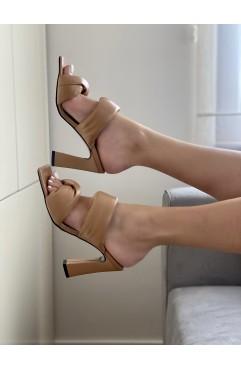 Saboti dama din piele naturala nude Rhea