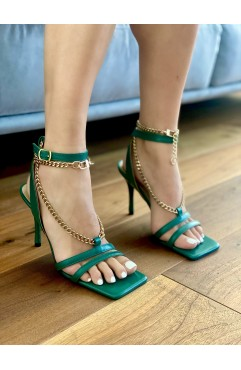 Alma green -chained high sandals