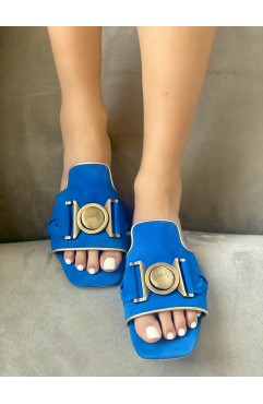 Papuci dama din piele naturala Santorini royal blue