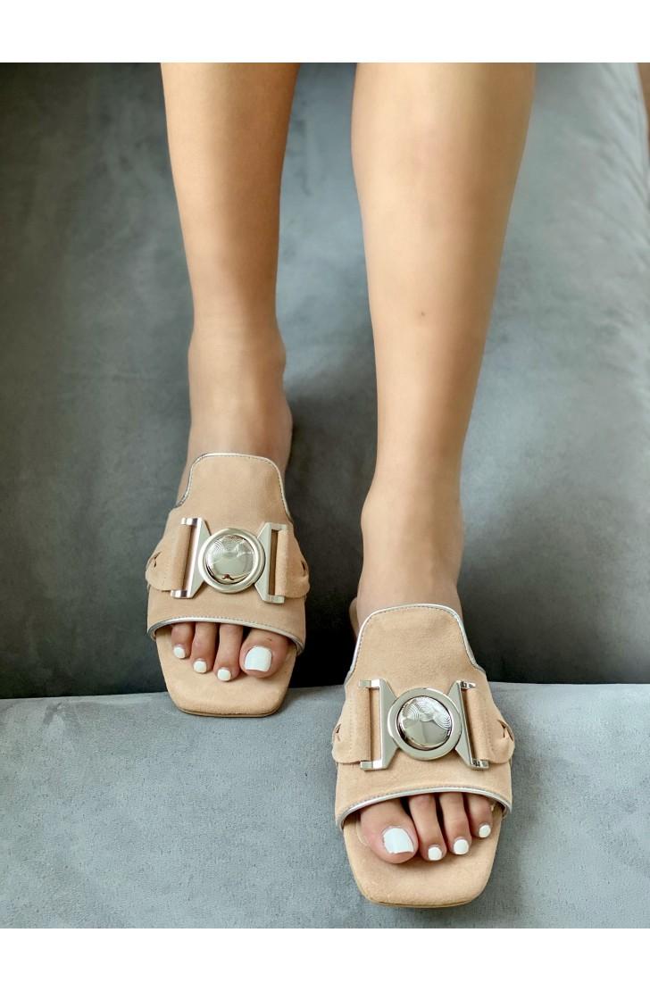 Papuci dama din piele naturala Santorini Pink Champagne