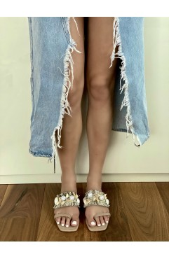 Papuci dama din piele naturala bej Seashell